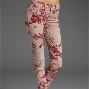 SIZE 27 J BRAND PINK FLORAL JEANS